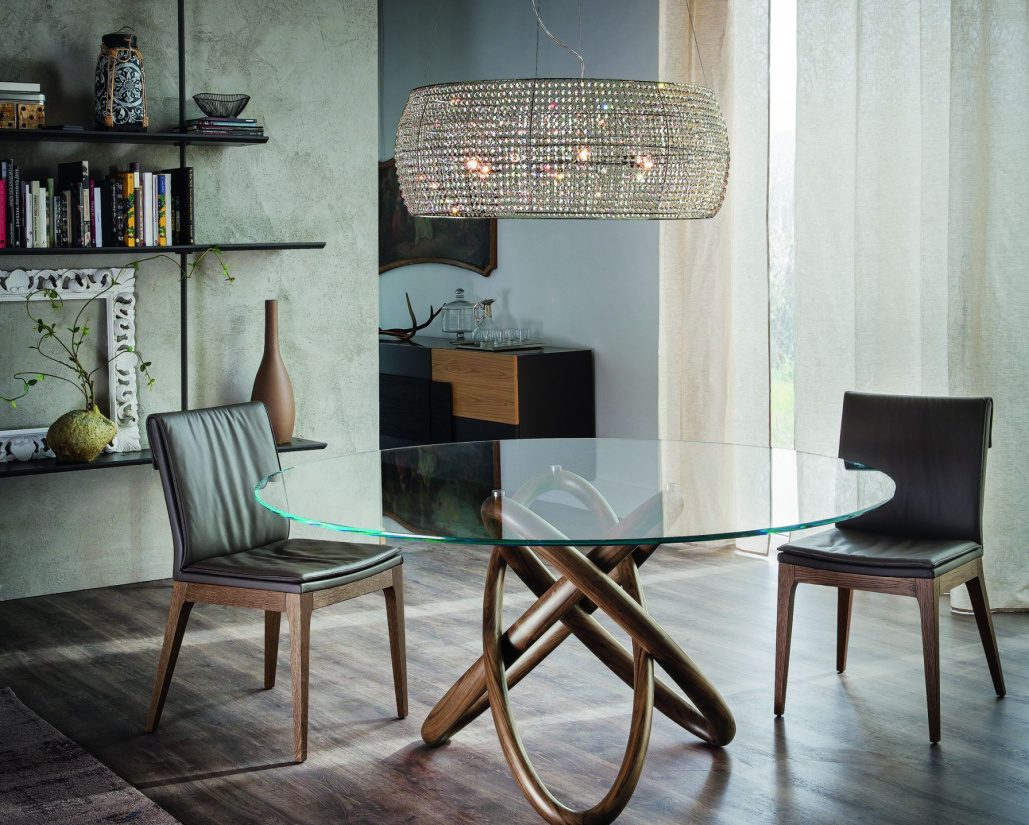 Carioca Round Dining Table - Canaletto Walnut Base