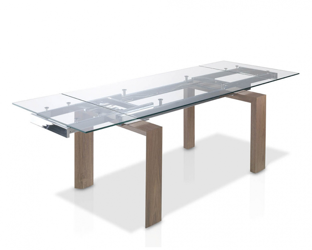 Baron Extending Dining Table  - Clear Glass Top