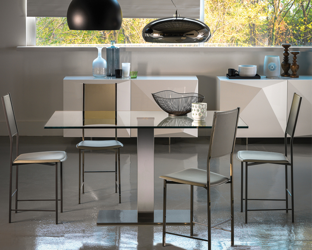 Elvis Glass Dining Table - Stainless Steel Base