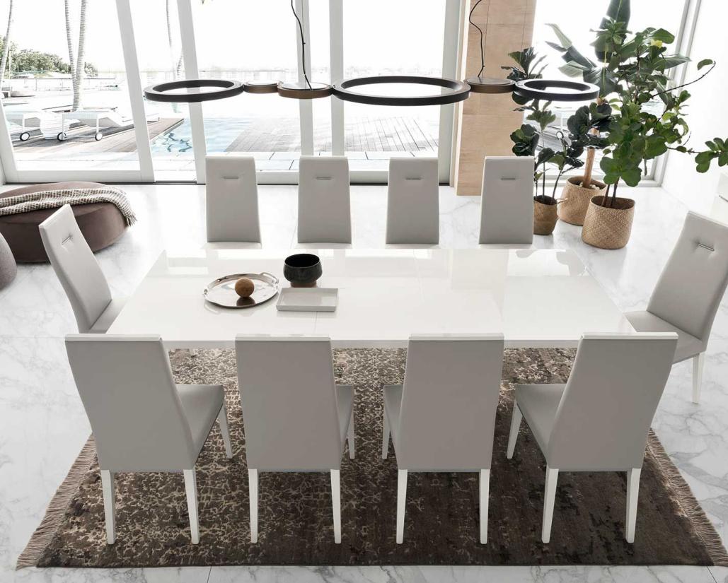 Isla Modern White Gloss Extending Dining Table