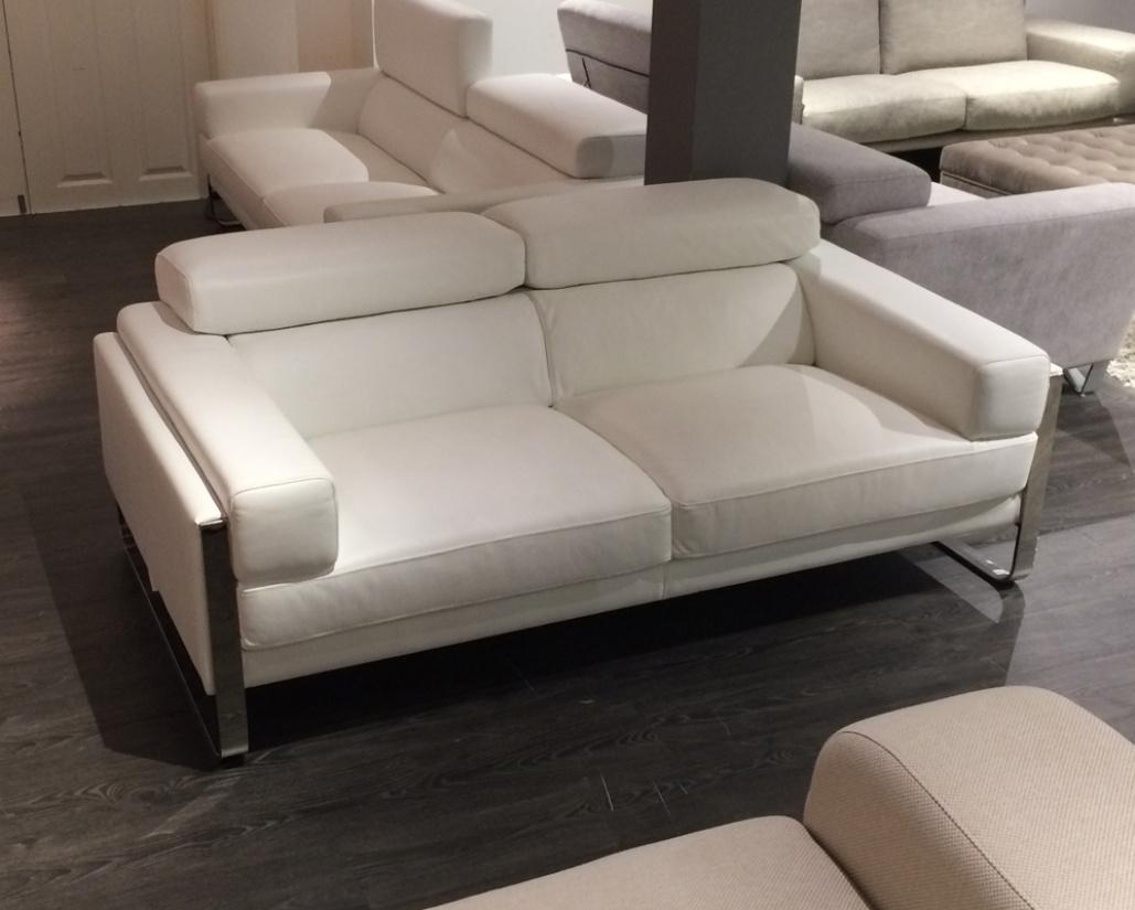 Juliett 2 Seater White Leather Sofa