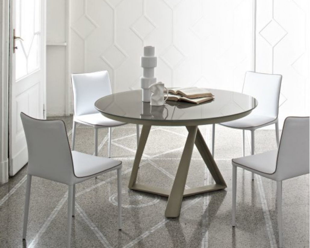 Buy Millennium Glass Round Extendable Table Online In London Uk Denelli Italia