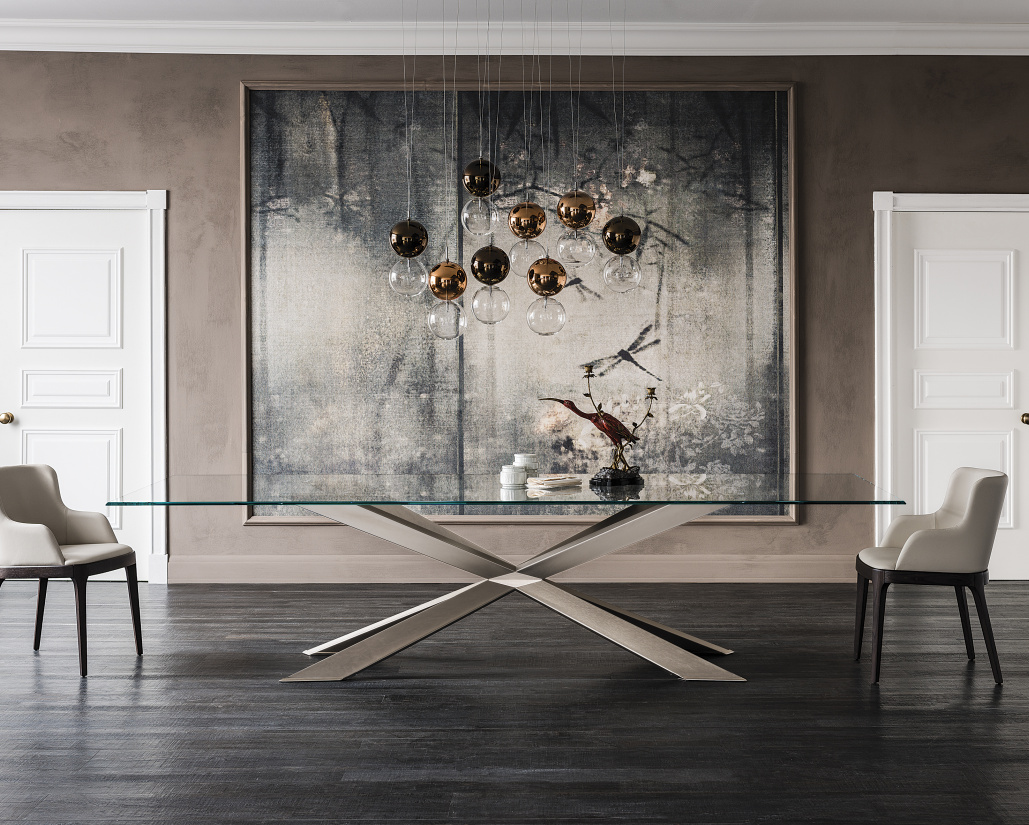 Spyder Satin Bronze Dining Table - Lifestyle