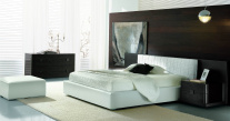 Lido Leather Bed With Orion Nightstand