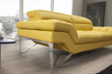 Andrea Yellow Leather Sofa - Armrest