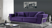 Rouche 3 Seater Sofa - Purple Fabric