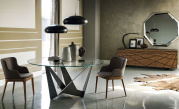 Skorpio Glass Round Dining Table - Graphite Base
