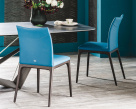 Arcadia Low Back Dining Chair - Blue Leather