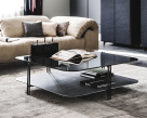 Biplane Coffee Table - Smoked Glass, Ardesia Ceramic