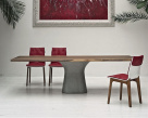 Podium Dining Table Wood Top Concrete Base