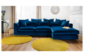Boss Velvet Fabric Deep Corner Sofa - Teal Fabric