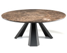 Edward Round Marble Dining Table - Graphite Base