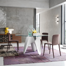 Gia Dining Table - Round Clear Glass Top