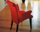 Lulu Red Leather Carver Dining Chair