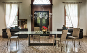 Monaco Dining Table - Dark Oak Base - Side View