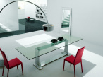 Monaco Dining Table - Chrome Base - Top View