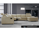Navelli Contemporary Leather Recliner Corner Sofa