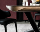 Planer Wood Dining Table - Black Top with Brushed Bronze Profile