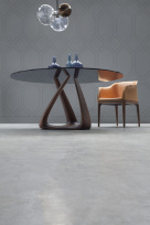 Riz Dining Table - Round Clear Glass Top