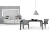Senso Extending Glass Dining Table - Black Glass Top, Anthracite Frame, Black Glass Leg Insert