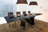 Snake Extending Dining Table - Glossy Black base with Black Glass Top