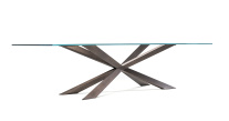 Spyder Satin Bronze Dining Table - Glass Top