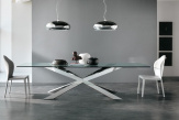 Spyder Glass Dining Table - Chrome Base