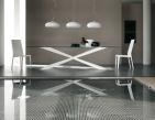 Spyder Glass Dining Table - Matt White Base