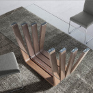 Sticks Dining Table - Clear Glass Top