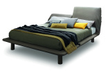 Twin Leather Bed - Headrest Adjusted