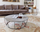 Barrel Coffee Table - Chrome Frame
