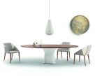 Podium Oval Dining Table Wood Top Concrete Base