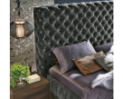 Chantal Bed High Headboard Chesterfield Grey Crystals