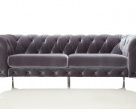 Charlie Modern Fabric Chesterfield Sofa - Silver Fabric