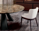 Edward Round Marble Dining Table - Emperador Marble Top