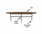 Glamour Oval Wood Dining Table - Sections Image