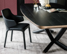 Planer Wood Dining Table - Black Top & Graphite Base