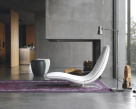 Ricci Modern Chaise - White Leather