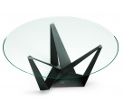Skorpio Glass Round Dining Table - Clear Glass Top