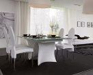 Snake Extending Dining Table - White Base with Glass Top