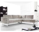 Vivid Modern Corner Sofa - Silver Fabric