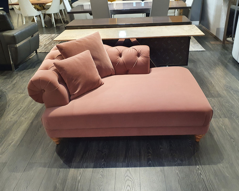 Estel Chaise Lounge (Dusty Pink Fabric) -  SOLD