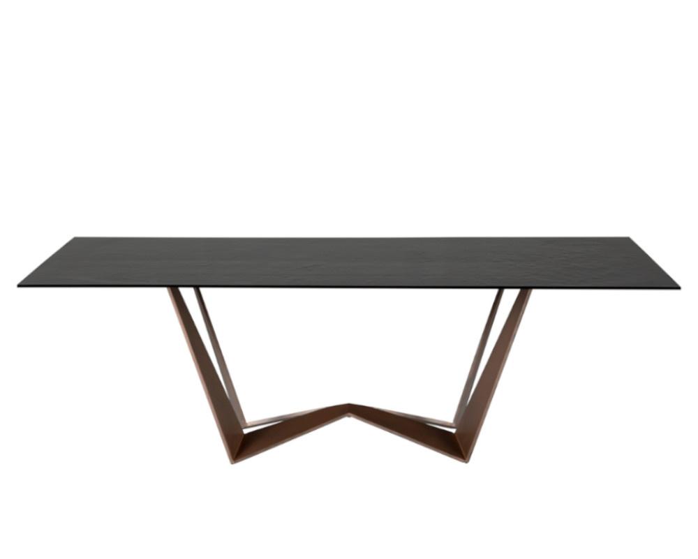 Reverse Glass Dining Table Rectangular Top