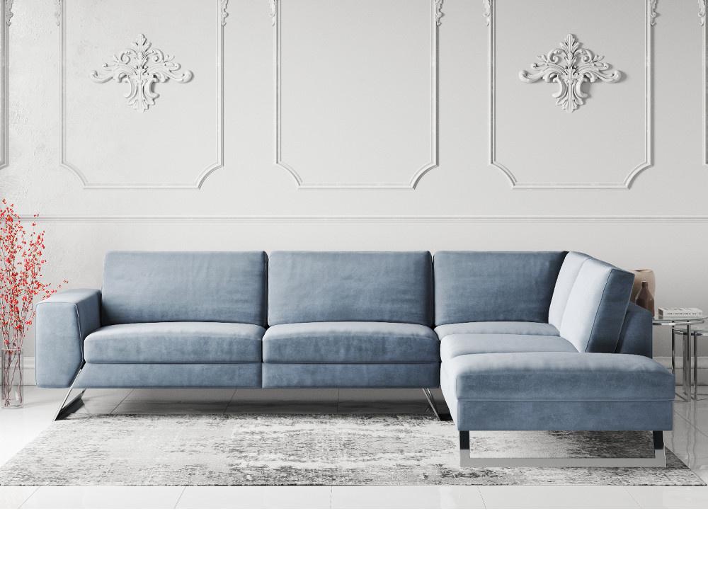 Vivid Velvet Fabric Corner Sofa