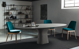 Podium Marble Oval Dining Table