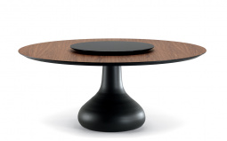 Bora Bora Dining Table - Graphite Base with Lazy Susan