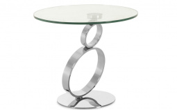 Rings Side Table Chrome Base Clear Glass Top