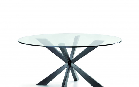 Spyder Round Glass Table - Clear Glass Top