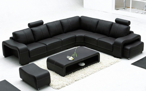 Palermo Italian Modular Corner Sofa - Black Leather