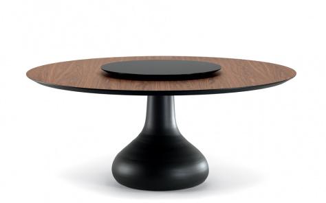Bora Bora Dining Table - Graphite Base with Lazy Susan